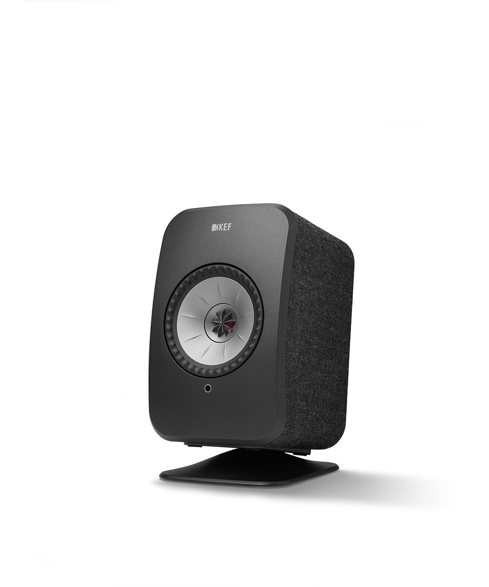 KEF LSX Wireless Speaker Desk Stand in Black with Black speaker.