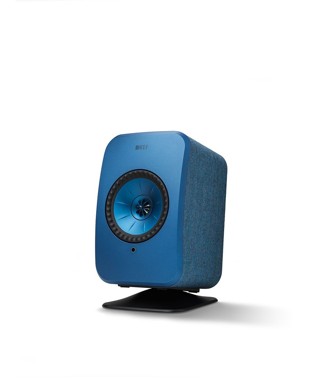 KEF LSX Wireless Speaker Desk Stand in black with blue speaker.