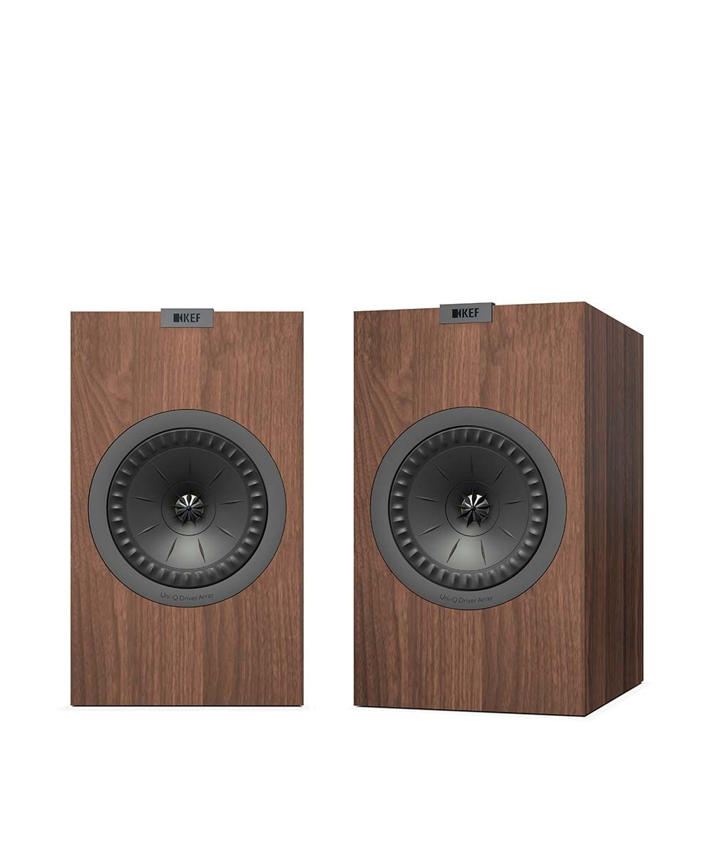 KEF Q150 Bookshelf Speaker pair in walnut.