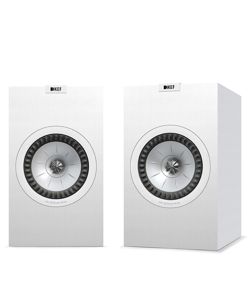 KEF Q350 Bookshelf loudspeaker, perfect for music or movies, in white.