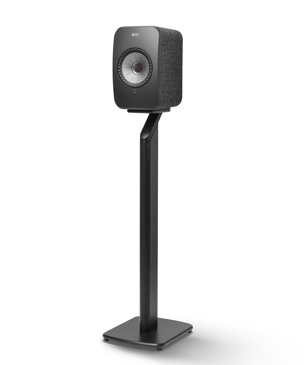 Black KEF S1 Floorstand for LSX Wireless Speakers in Black.