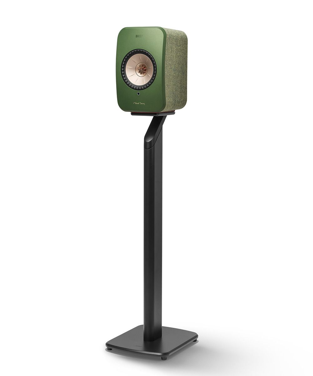 Black KEF S1 Floorstand for LSX Wireless Speakers in Green.