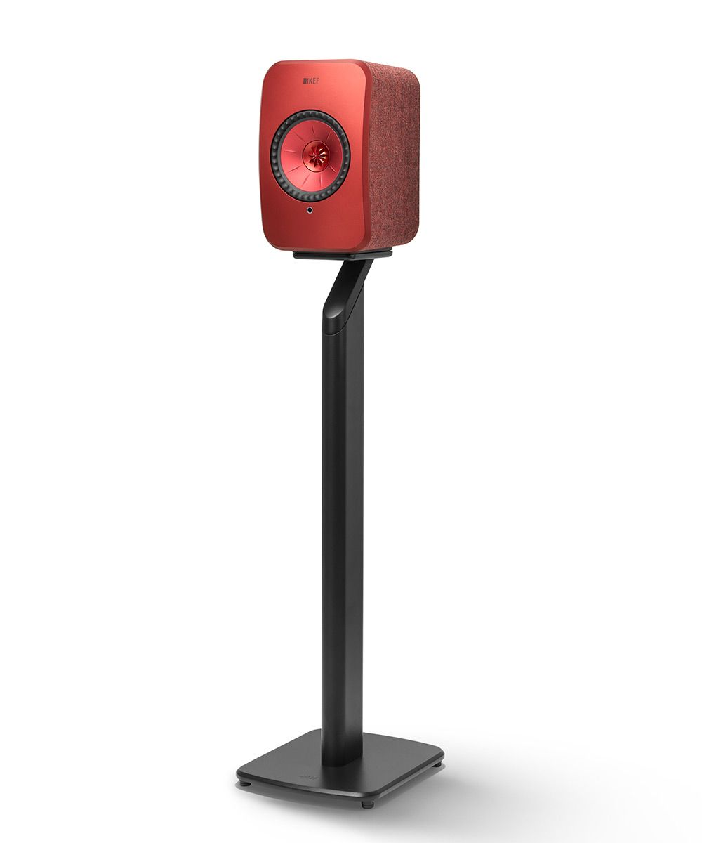 Black KEF S1 Floorstand for LSX Wireless Speakers in Red.