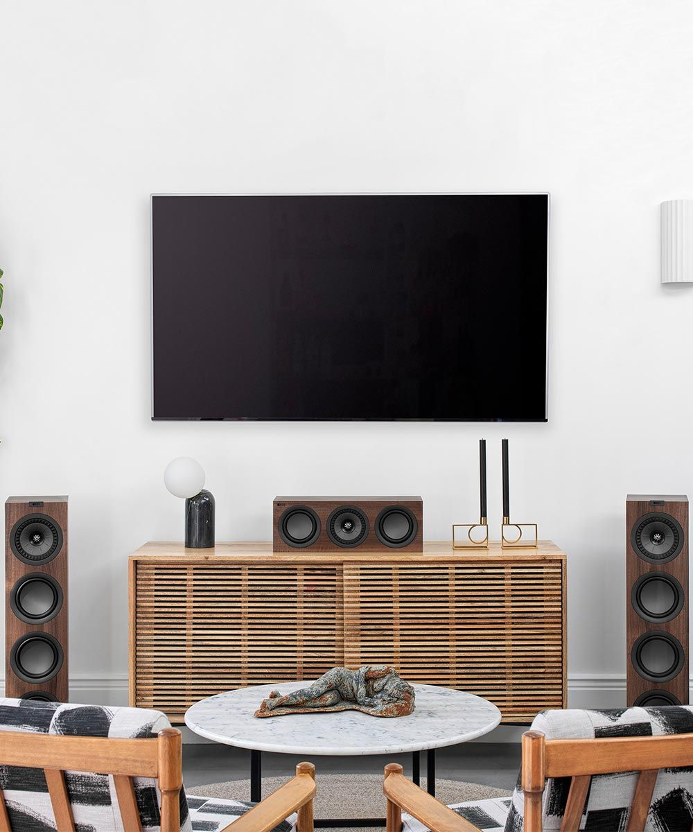 KEF Q250C center channel home theater speaker in Walnut.