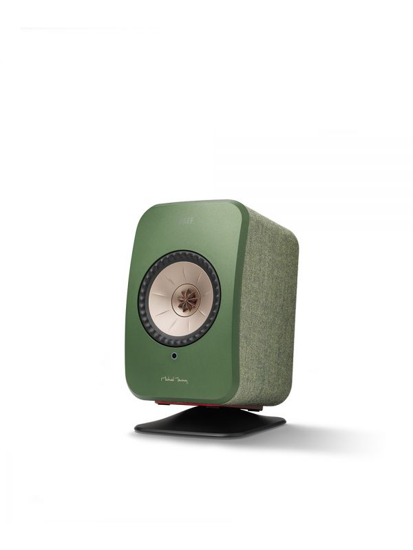 KEF LSX Wireless Desk Stand in black with green speaker.