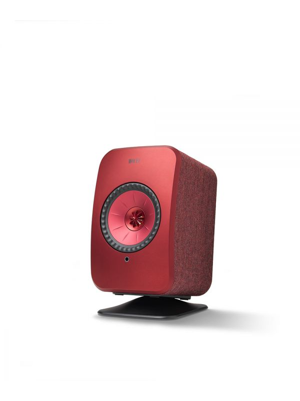 KEF LSX Wireless Speaker Desk Stand in Black with Red speaker.