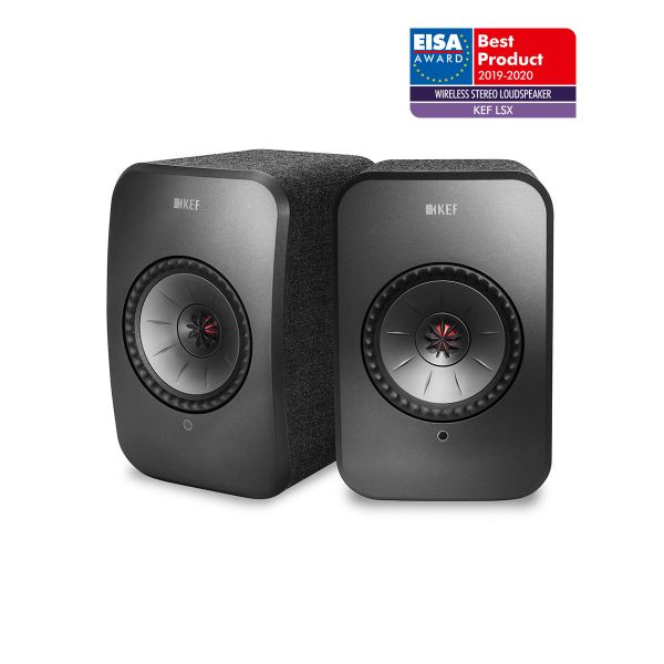 KEF LSX EISA WINNER 2019-2020 Best Wireless Stereo Loudspeaker in Black.