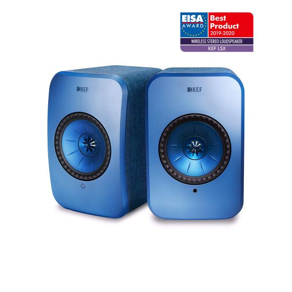 KEF LSX EISA WINNER 2019-2020 Best Wireless Stereo Loudspeaker in Blue.