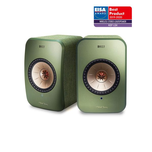 KEF LSX EISA WINNER 2019-2020 Best Wireless Stereo Loudspeaker in Green.