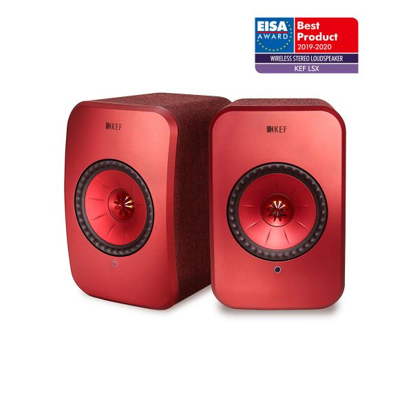 KEF LSX EISA WINNER 2019-2020 Best Wireless Stereo Loudspeaker in Red.