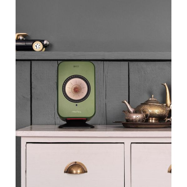 Wireless KEF LSX Speaker stand in black with green speaker. Dresser top speaker stands.