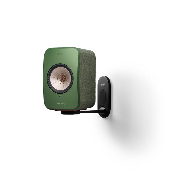 KEF LSX Wireless Speaker Wall Bracket in black with green speaker.