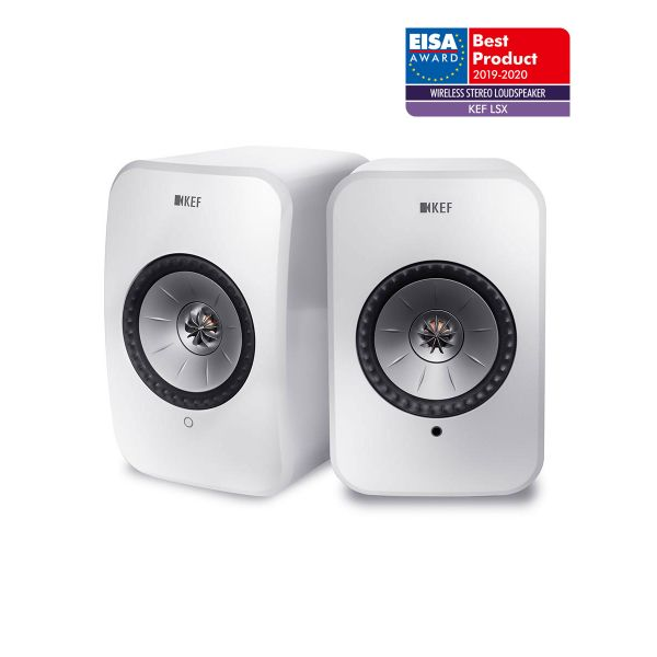 KEF LSX EISA WINNER 2019-2020 Best Wireless Stereo Loudspeaker in White.
