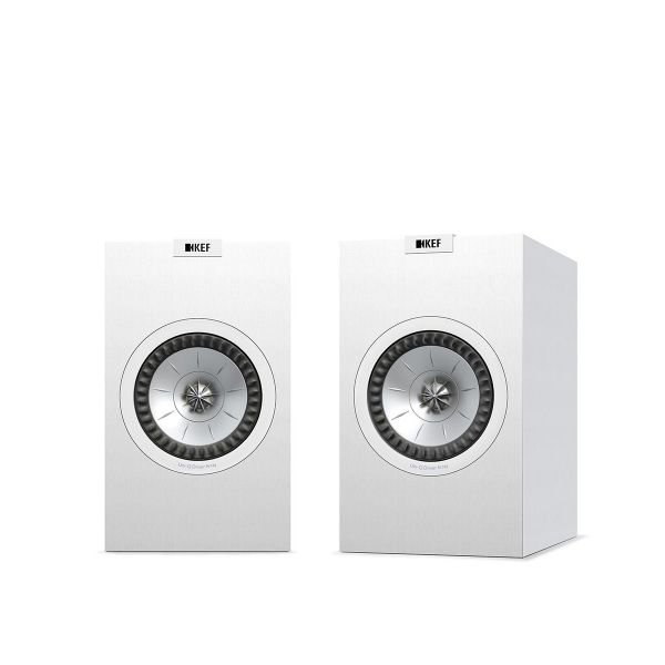 KEF Q150 Bookshelf Speaker pair in white.