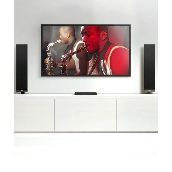 KEF Ultra-thin powered v300 tv speakers work seated on a shelf.