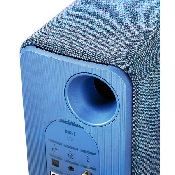 KEF HiFi desktop speakers in blue inputs back panel.