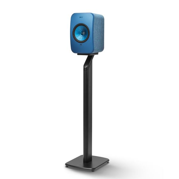 Black KEF S1 Floorstand for LSX Wireless Speakers in Blue.