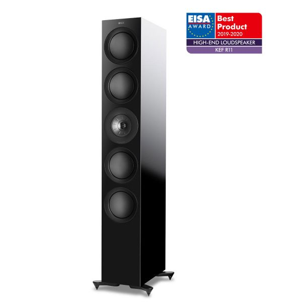 KEF R11 Floorstanding speaker, Best Product 2019-2020 EISA Award winner in black.