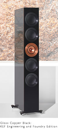 KEF REFERENCE Series speakers in high gloss Foundry Edition Black and Copper